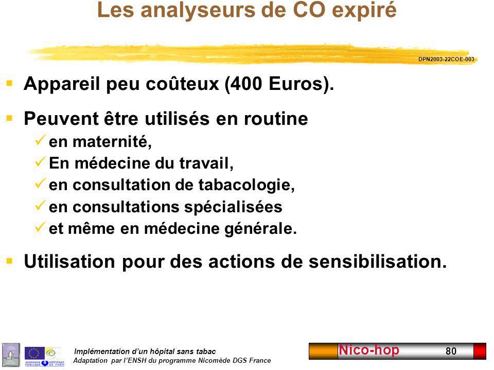 Implémentation dun hôpital sans tabac Adaptation par lENSH du programme Nicomède DGS France Nico-hop 80 Les analyseurs de CO expiré Appareil peu coûte