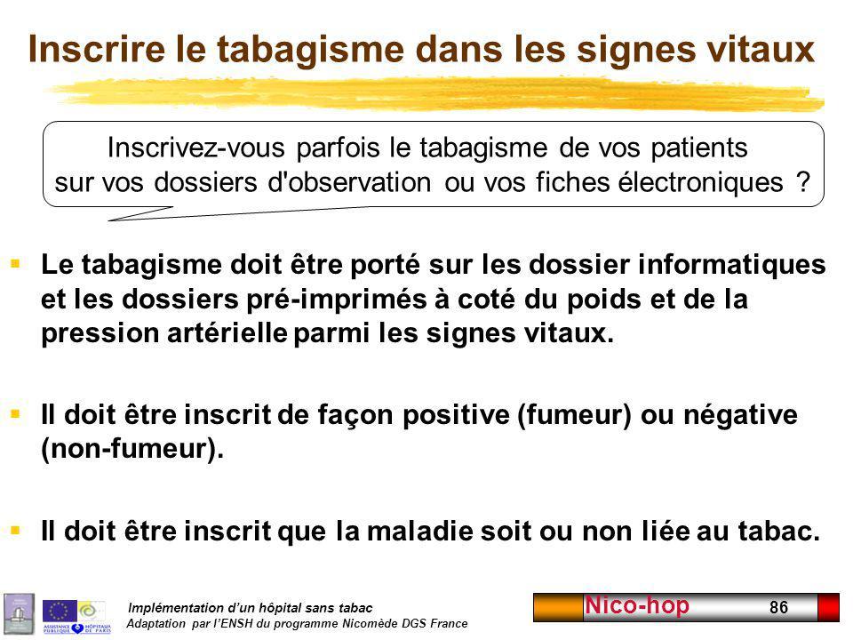 Implémentation dun hôpital sans tabac Adaptation par lENSH du programme Nicomède DGS France Nico-hop 86 Inscrivez-vous parfois le tabagisme de vos pat