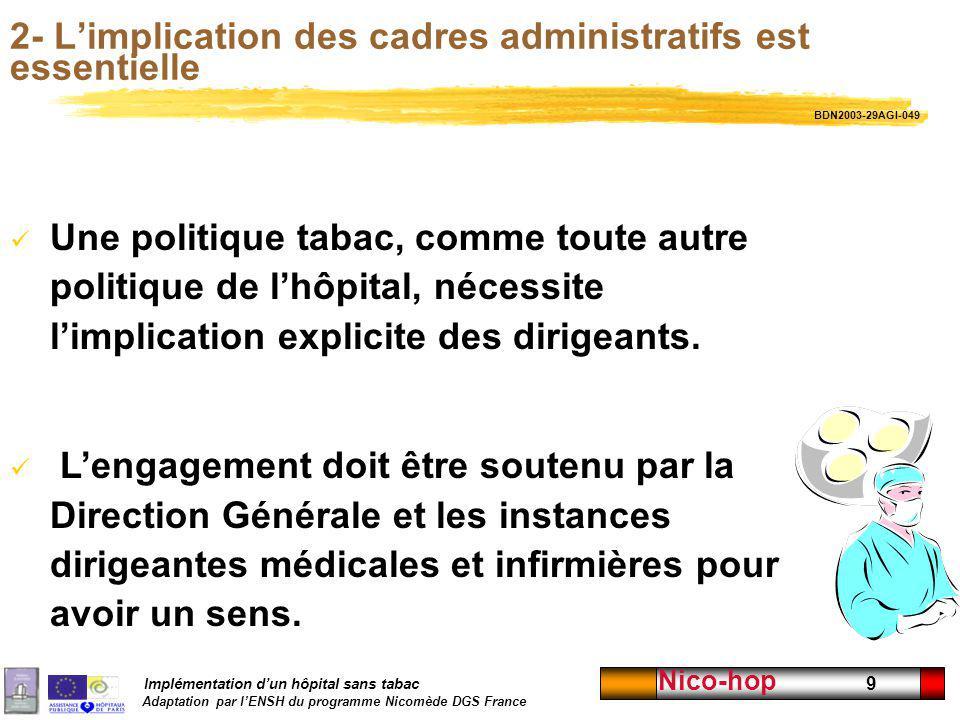 Implémentation dun hôpital sans tabac Adaptation par lENSH du programme Nicomède DGS France Nico-hop 9 2- Limplication des cadres administratifs est e