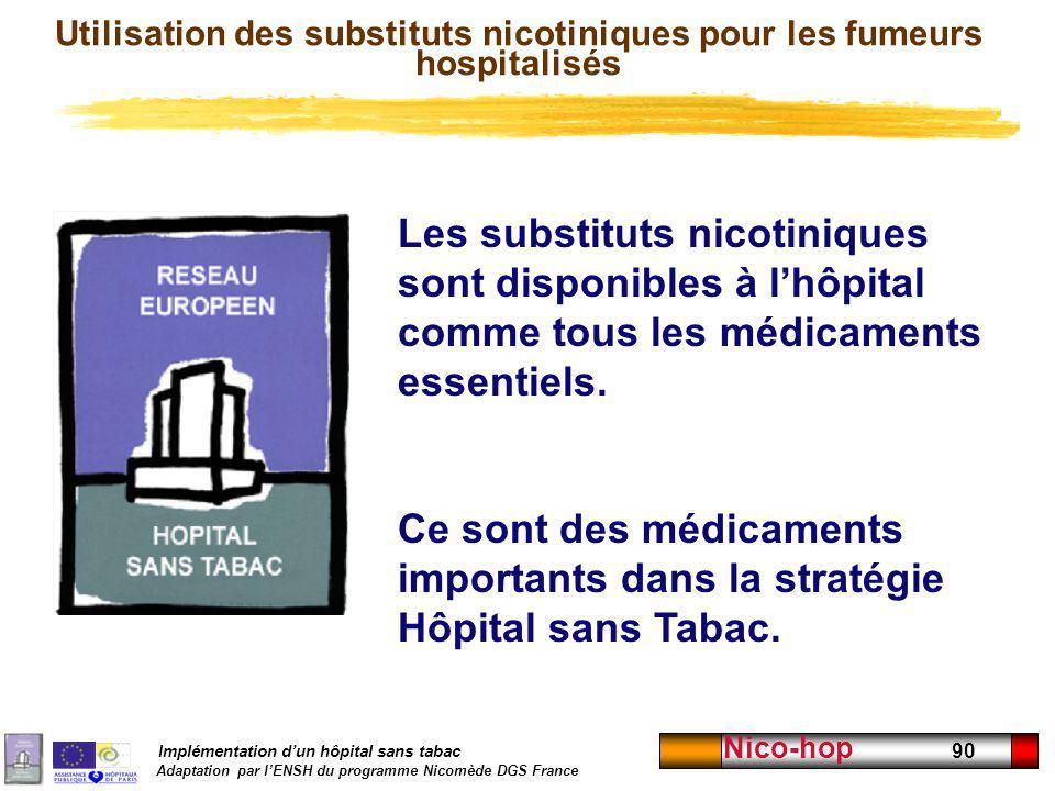 Implémentation dun hôpital sans tabac Adaptation par lENSH du programme Nicomède DGS France Nico-hop 90 Utilisation des substituts nicotiniques pour l