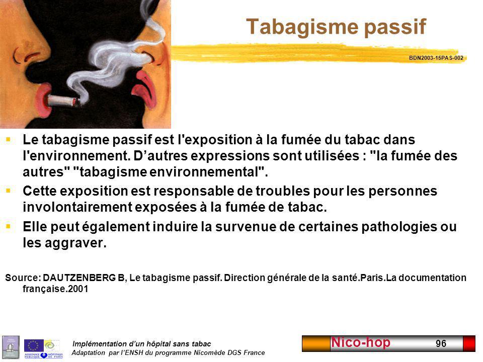 Implémentation dun hôpital sans tabac Adaptation par lENSH du programme Nicomède DGS France Nico-hop 96 Tabagisme passif Le tabagisme passif est l'exp