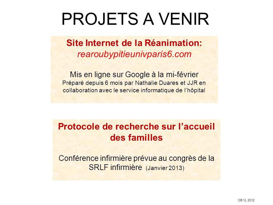 PROJETS A VENIR CB VL 2012 Site Internet de la Réanimation: rearoubypitieunivparis6.com Mis en ligne sur Google à la mi-février Préparé depuis 6 mois