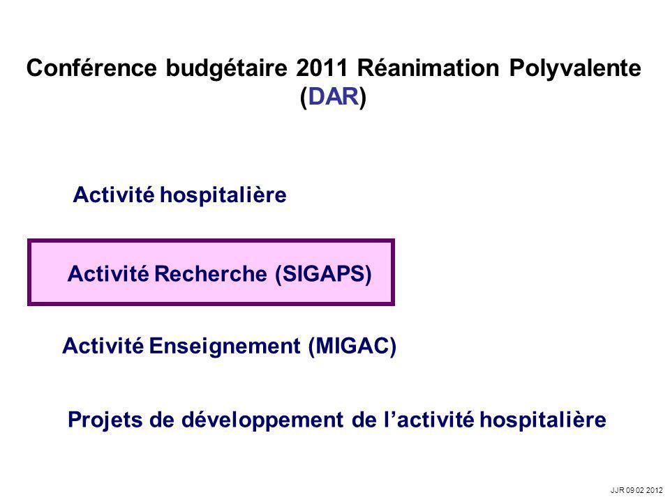 Conférence budgétaire 2011 Réanimation Polyvalente (DAR) Activité hospitalière Activité Recherche (SIGAPS) Activité Enseignement (MIGAC) Projets de dé