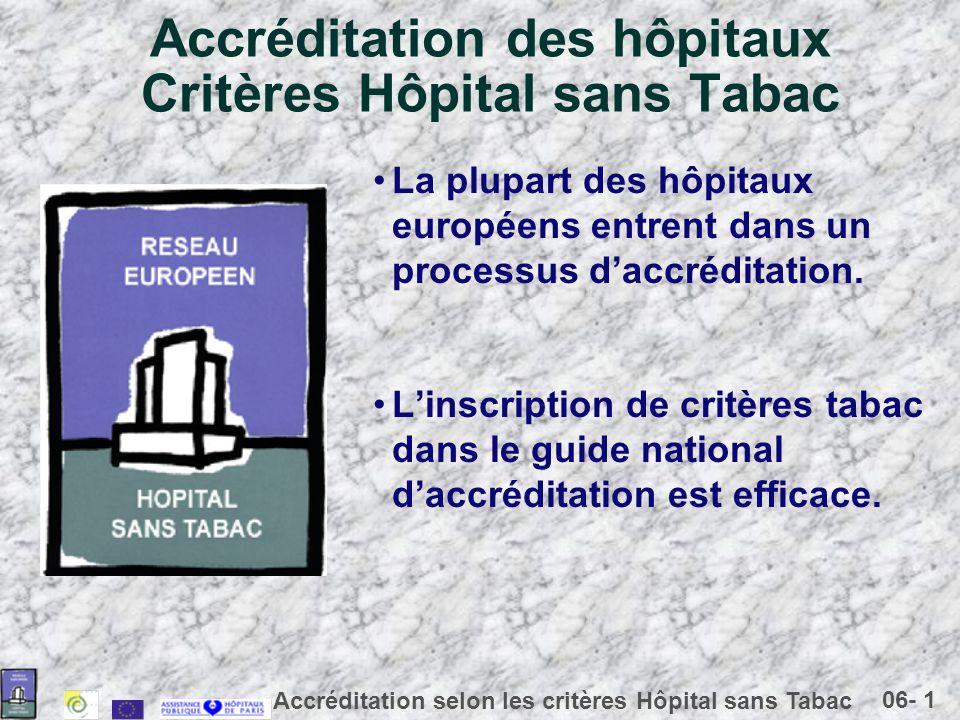 06- 1 Accréditation selon les critères Hôpital sans Tabac Accréditation des hôpitaux Critères Hôpital sans Tabac La plupart des hôpitaux européens entrent dans un processus daccréditation.