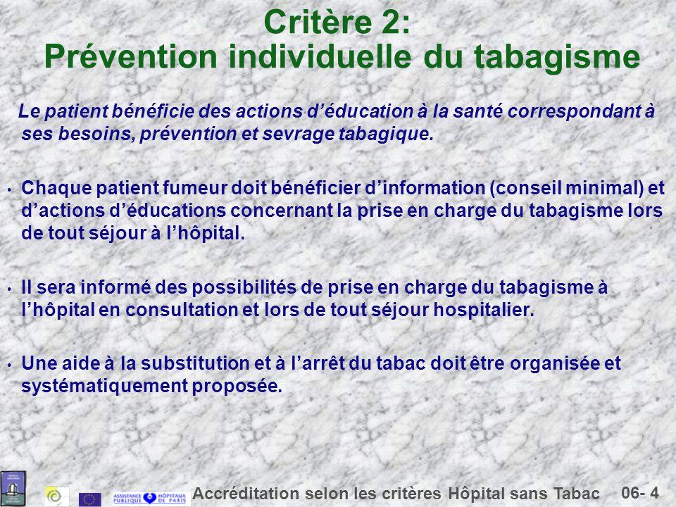 06- 4 Accréditation selon les critères Hôpital sans Tabac Critère 2: Prévention individuelle du tabagisme Le patient bénéficie des actions déducation à la santé correspondant à ses besoins, prévention et sevrage tabagique.