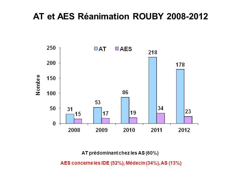 AT et AES Réanimation ROUBY 2008-2012 AT prédominant chez les AS (60%) AES concerne les IDE (52%), Médecin (34%), AS (13%)