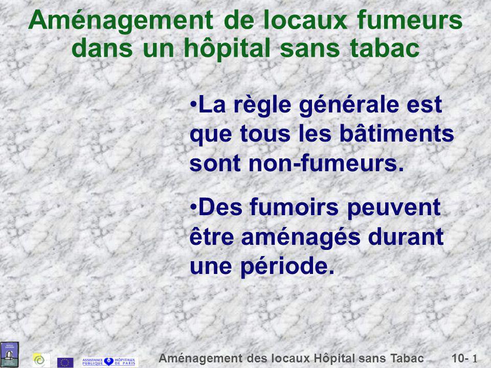 10- 1 Aménagement des locaux Hôpital sans Tabac Aménagement de locaux fumeurs dans un hôpital sans tabac La règle générale est que tous les bâtiments