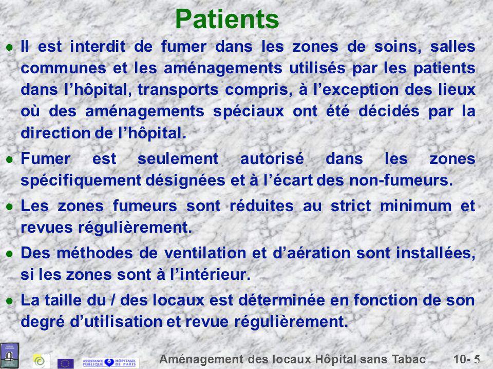 10- 5 Aménagement des locaux Hôpital sans Tabac Patients Il est interdit de fumer dans les zones de soins, salles communes et les aménagements utilisé