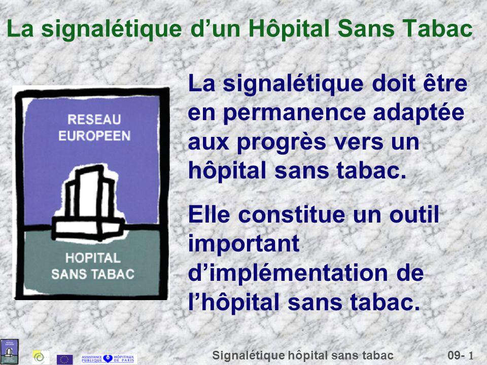09- 1 Signalétique hôpital sans tabac La signalétique dun Hôpital Sans Tabac La signalétique doit être en permanence adaptée aux progrès vers un hôpit
