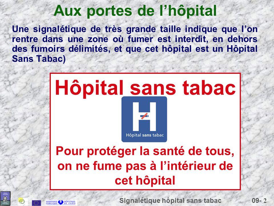 09- 2 Signalétique hôpital sans tabac Aux portes de lhôpital Une signalétique de très grande taille indique que lon rentre dans une zone où fumer est