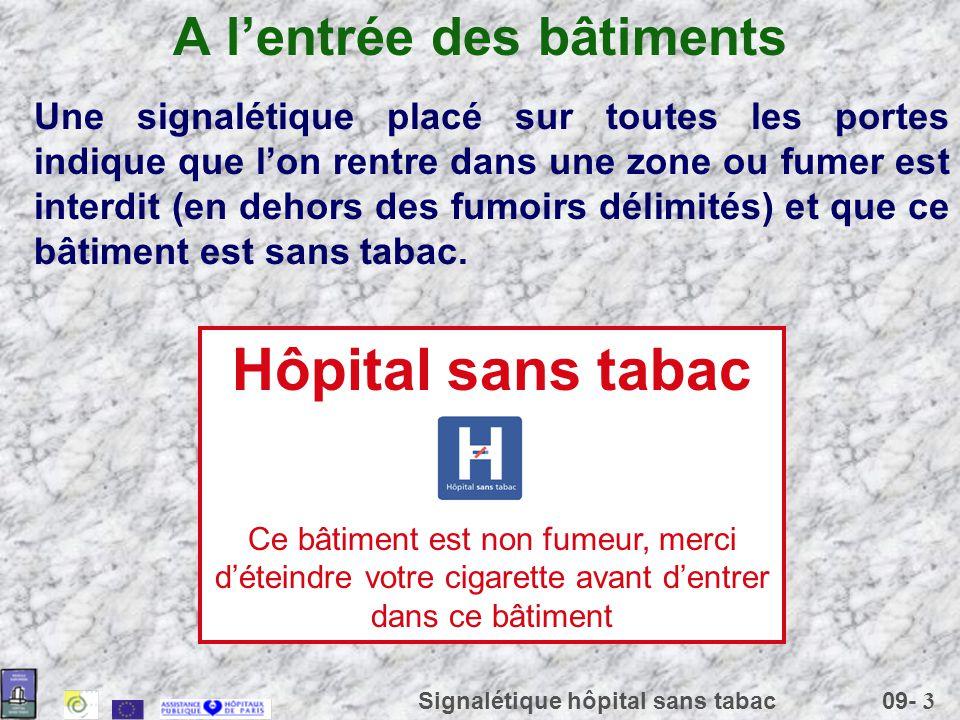 09- 3 Signalétique hôpital sans tabac A lentrée des bâtiments Une signalétique placé sur toutes les portes indique que lon rentre dans une zone ou fum