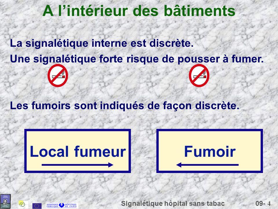 09- 4 Signalétique hôpital sans tabac A lintérieur des bâtiments La signalétique interne est discrète. Une signalétique forte risque de pousser à fume