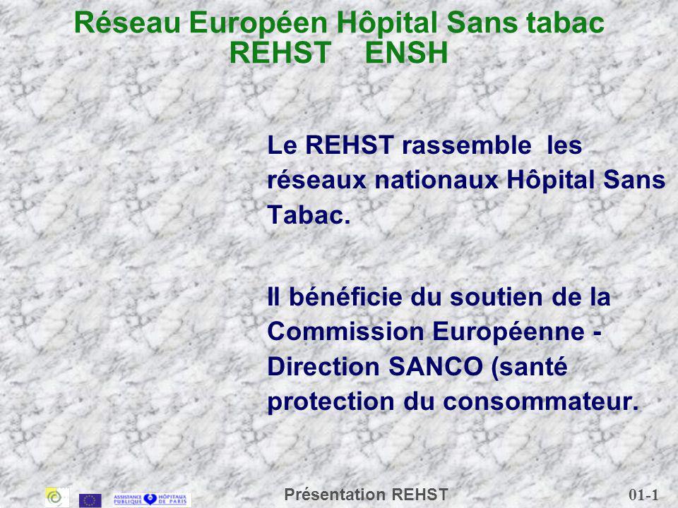 01-2 Présentation REHST Le Réseau Européen pour la Prévention du Tabagisme (REPT) (ENSP) Le REPT rassemble : - les coalitions nationales dans chacun des 15 Etats membres - - trois réseaux spécialisés : - Réseau des jeunes (ENYPAT), - Réseau des femmes Europe (INWAT) - Réseau des hôpitaux (ENSH), - 340 organisations et ses 500 membres associés couvrent lUnion Européenne, les pays candidats à ladhésion et les pays dEurope de lEst.
