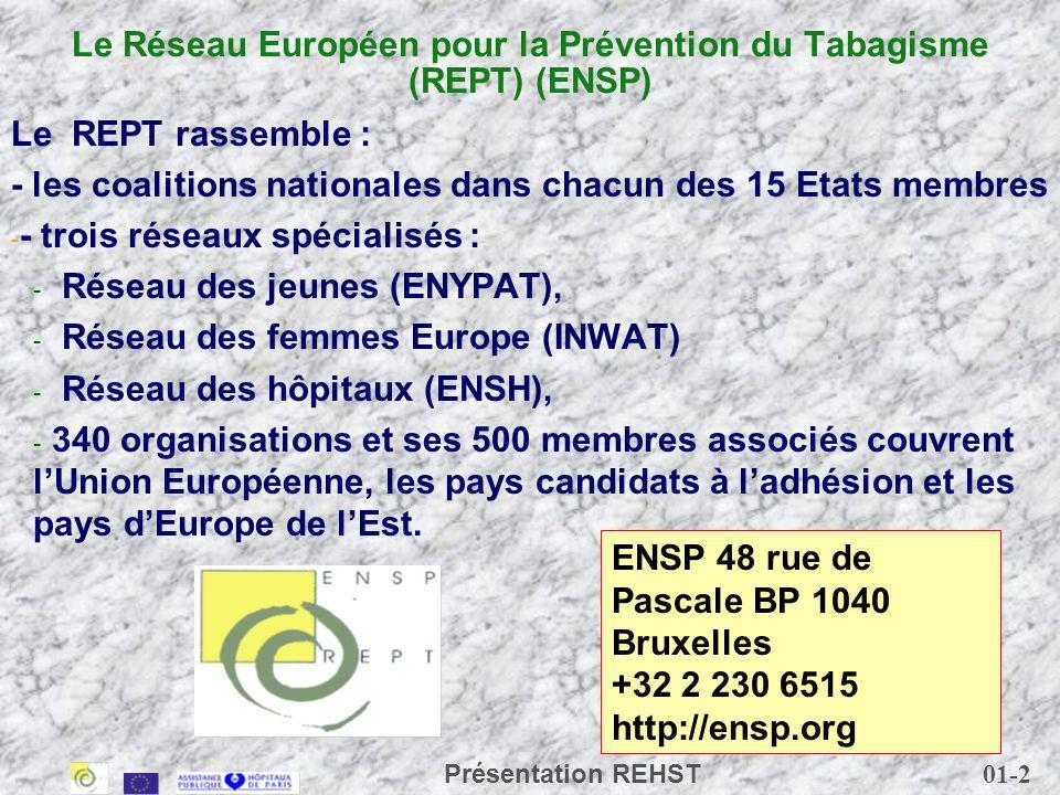 01-3 Présentation REHST Douze partenaires Autriche Belgique Danemark Espagne Finlande France Irlande Italie Luxembourg Portugal Royaume-Uni Suède Manque : Allemagne Grèce Pays-Bas