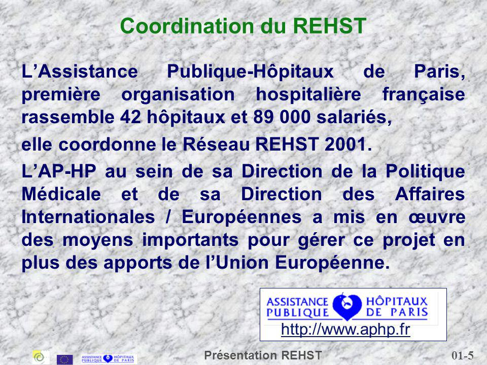 01-5 Présentation REHST Coordination du REHST LAssistance Publique-Hôpitaux de Paris, première organisation hospitalière française rassemble 42 hôpitaux et 89 000 salariés, elle coordonne le Réseau REHST 2001.