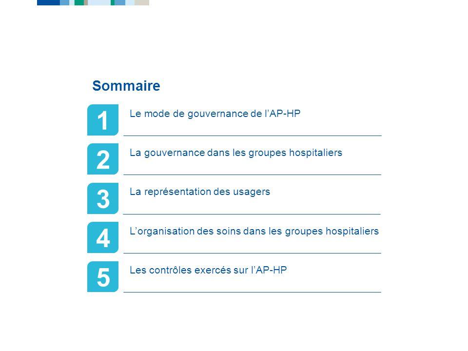 Gouvernance & organisation de lAP-HP 1 2 3 4 5 Sommaire Le mode de gouvernance de lAP-HP La gouvernance dans les groupes hospitaliers La représentatio