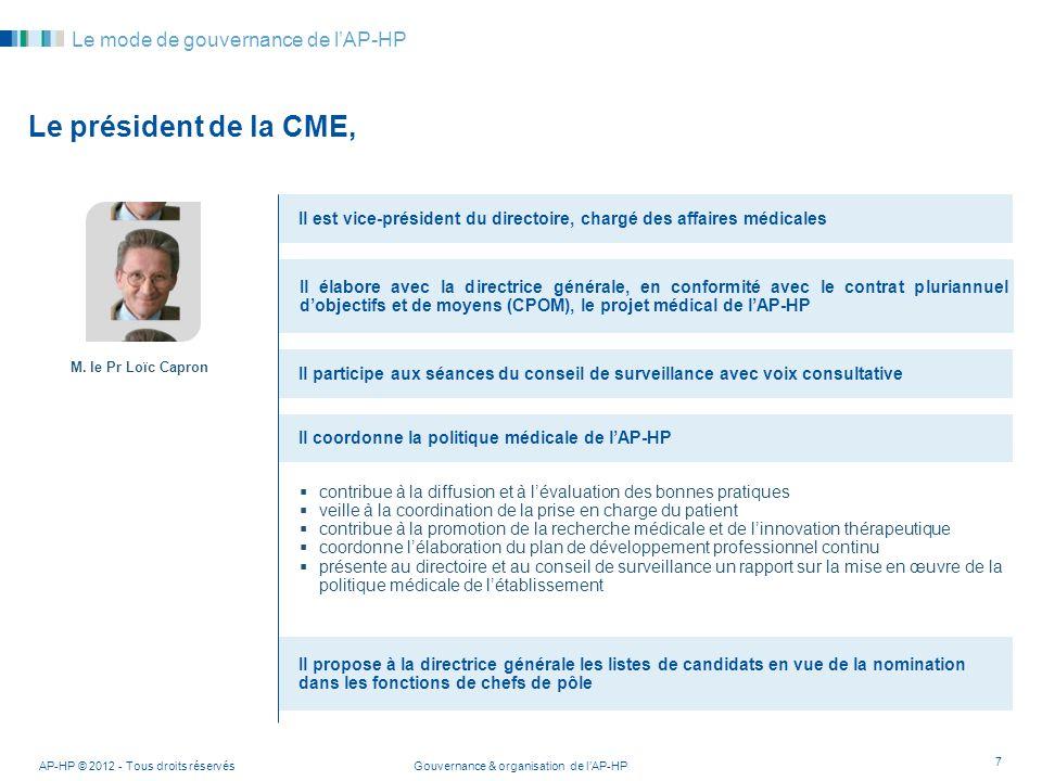 Gouvernance & organisation de lAP-HPAP-HP © 2012 - Tous droits réservés 7 Le mode de gouvernance de lAP-HP Le président de la CME, Il est vice-préside