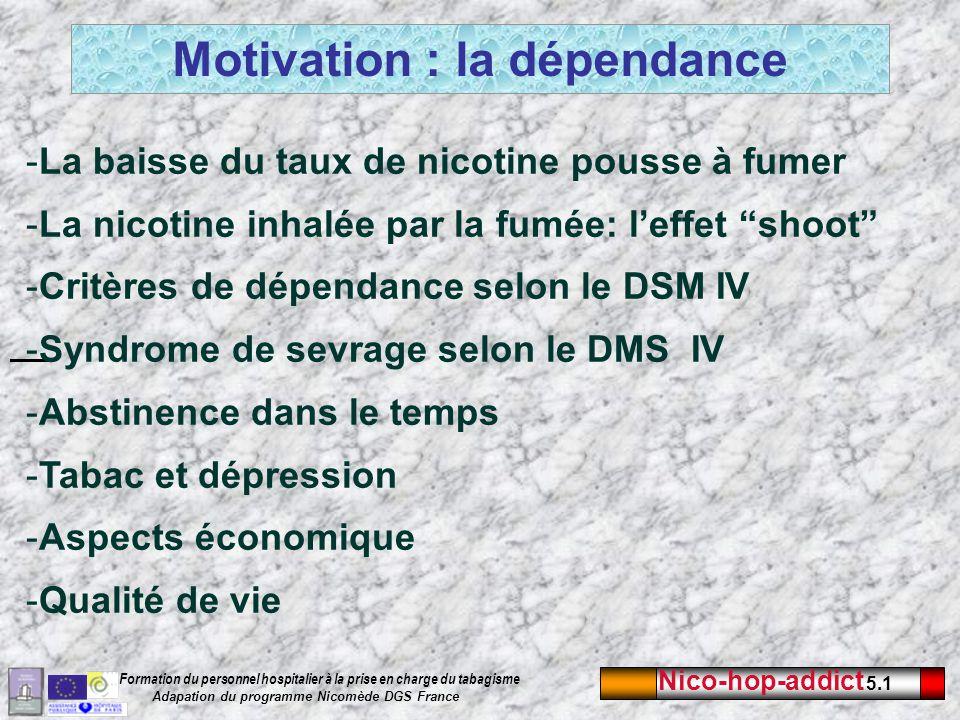 Nico-hop-addict 5.1 Formation du personnel hospitalier à la prise en charge du tabagisme Adapation du programme Nicomède DGS France -La baisse du taux de nicotine pousse à fumer -La nicotine inhalée par la fumée: leffet shoot -Critères de dépendance selon le DSM IV -Syndrome de sevrage selon le DMS IV -Abstinence dans le temps -Tabac et dépression -Aspects économique -Qualité de vie Motivation : la dépendance