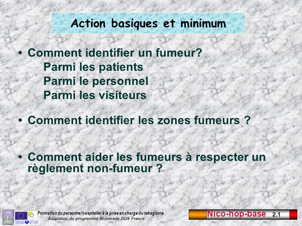 Nico-hop-base 2.1 Formation du personnel hospitalier à la prise en charge du tabagisme Adapation du programme Nicomède DGS France Action basiques et minimum Comment identifier un fumeur.