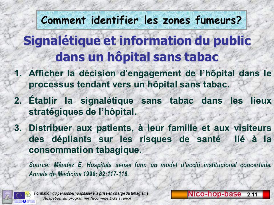 Nico-hop-base 2.11 Formation du personnel hospitalier à la prise en charge du tabagisme Adapation du programme Nicomède DGS France Signalétique et information du public dans un hôpital sans tabac 1.