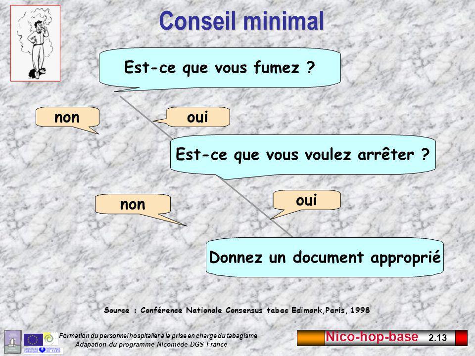 Nico-hop-base 2.13 Formation du personnel hospitalier à la prise en charge du tabagisme Adapation du programme Nicomède DGS France Conseil minimal Est-ce que vous fumez ?Est-ce que vous voulez arrêter .