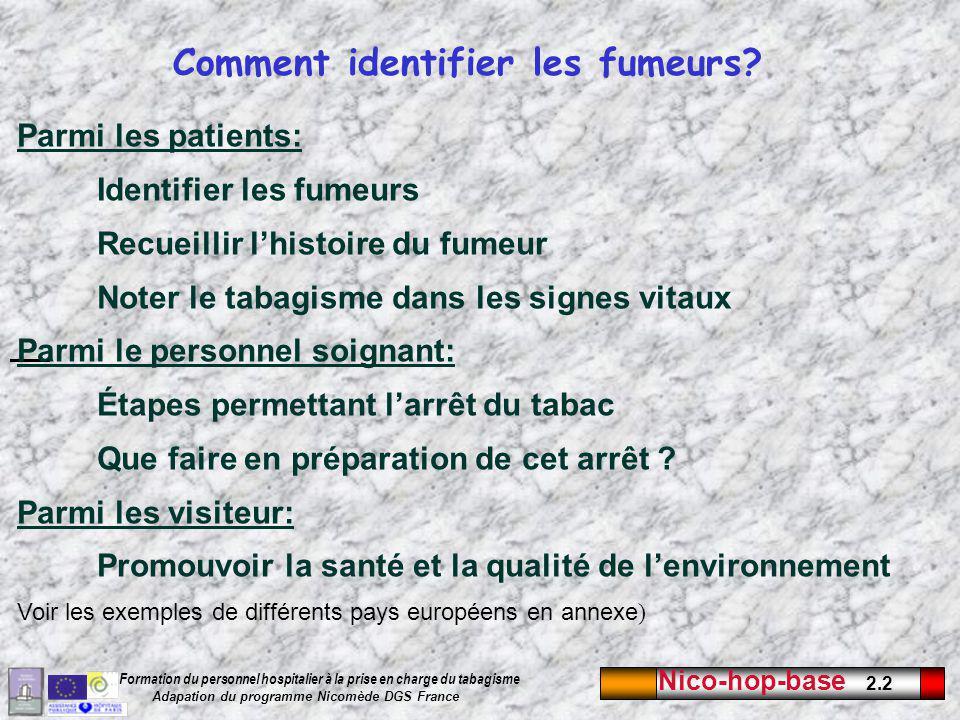 Nico-hop-base 2.3 Formation du personnel hospitalier à la prise en charge du tabagisme Adapation du programme Nicomède DGS France Identifier les fumeurs Au moins la moitié des fumeurs ne sont pas identifiés par les médecins et les soignants.