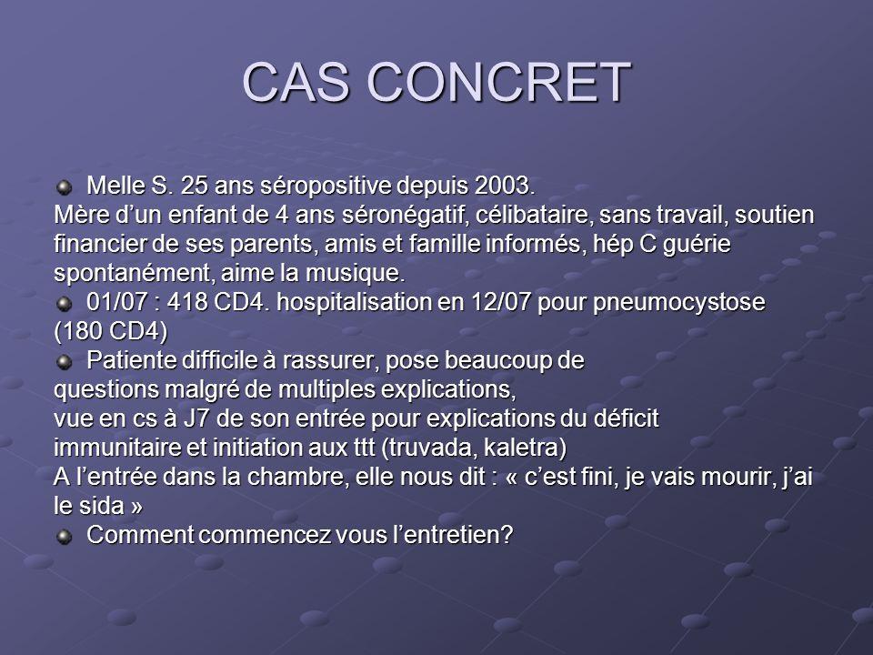 CAS CONCRET Melle S. 25 ans séropositive depuis 2003.