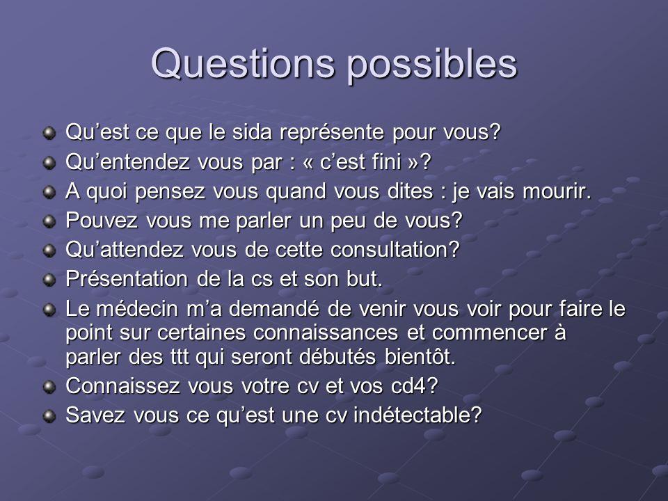 Questions possibles Quest ce que le sida représente pour vous.