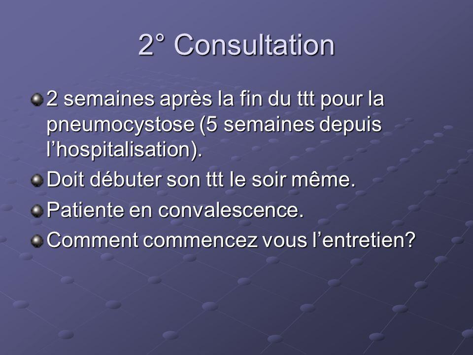 2° Consultation 2 semaines après la fin du ttt pour la pneumocystose (5 semaines depuis lhospitalisation).