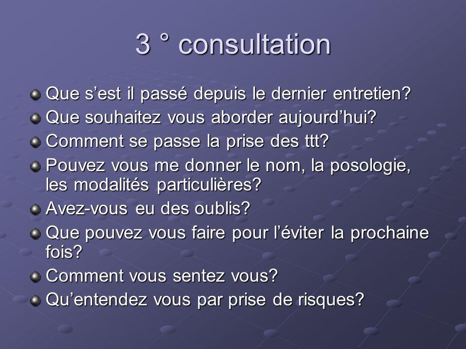 3 ° consultation Que sest il passé depuis le dernier entretien.