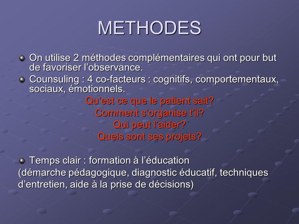 METHODES On utilise 2 méthodes complémentaires qui ont pour but de favoriser lobservance.