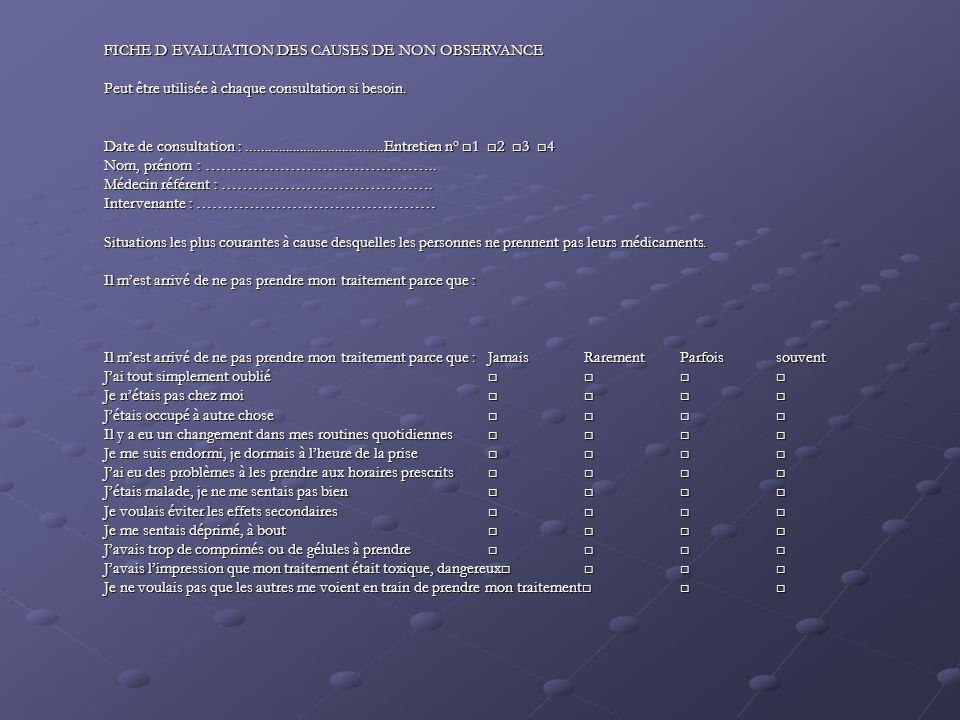 FICHE D EVALUATION DES CAUSES DE NON OBSERVANCE Peut être utilisée à chaque consultation si besoin.