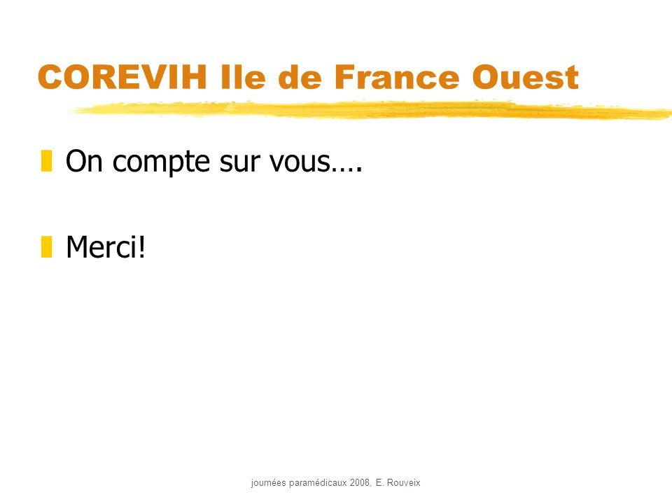 journées paramédicaux 2008, E. Rouveix COREVIH Ile de France Ouest zOn compte sur vous…. zMerci!