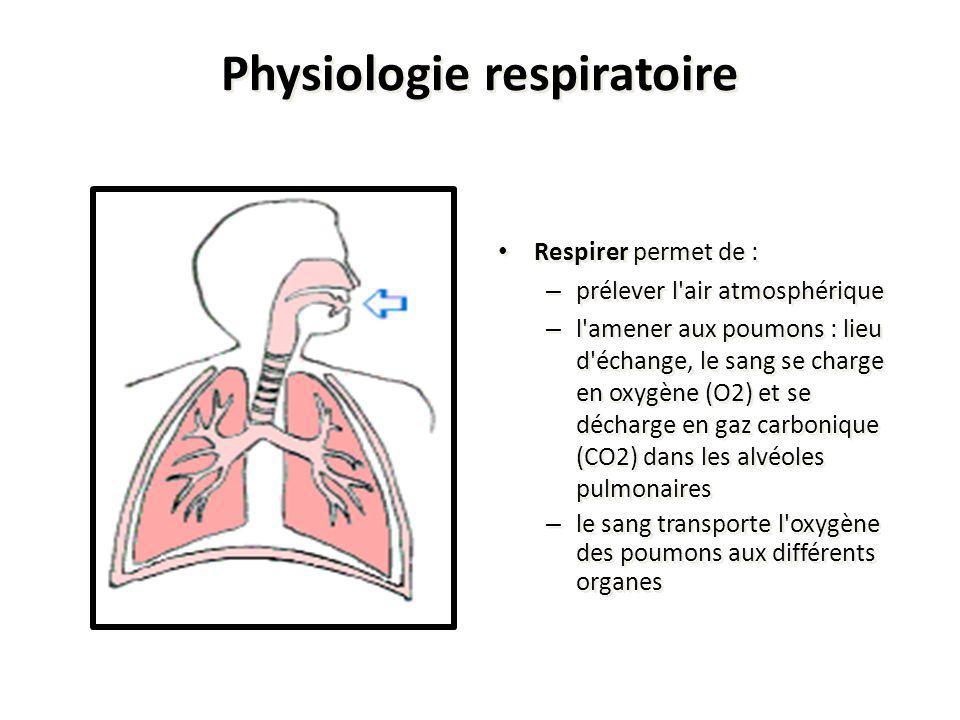 Physiologie respiratoire Respirer permet de : – prélever l'air atmosphérique – l'amener aux poumons : lieu d'échange, le sang se charge en oxygène (O2