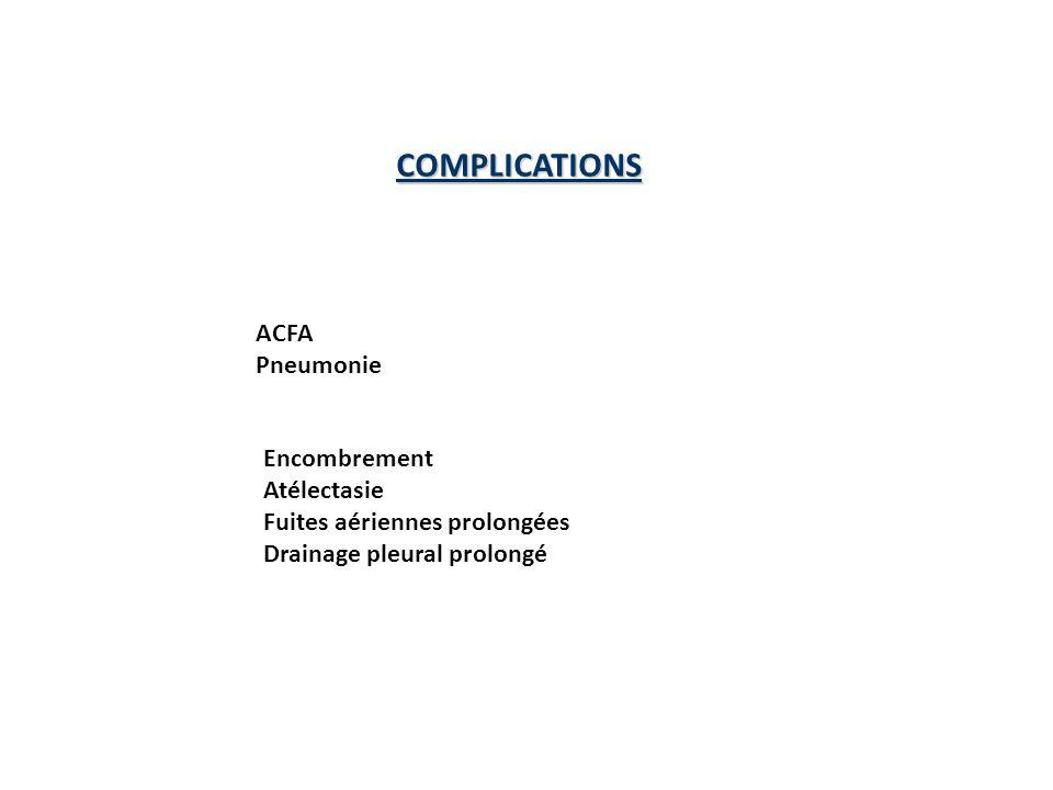 COMPLICATIONS ACFA Pneumonie Encombrement Atélectasie Fuites aériennes prolongées Drainage pleural prolongé