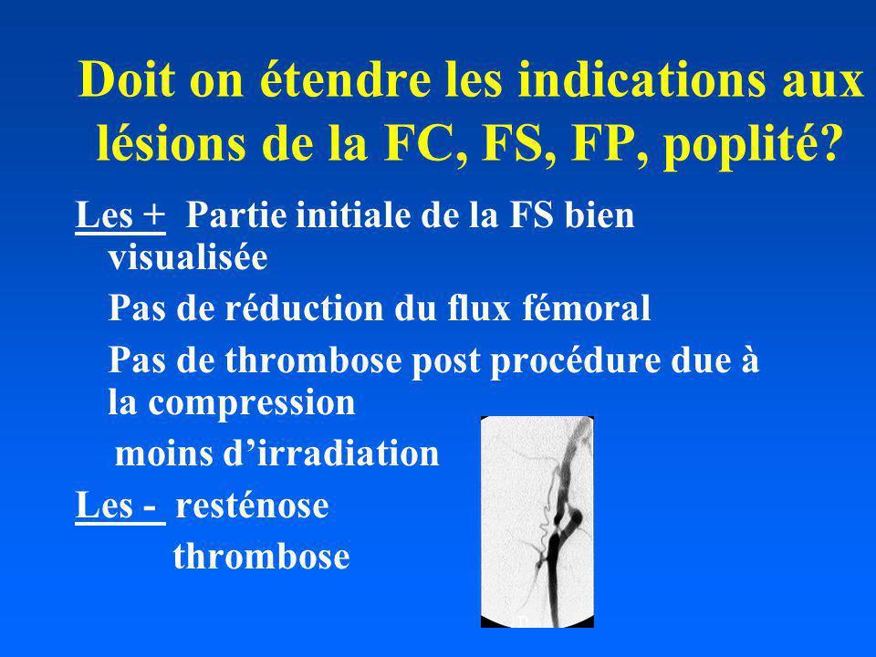 Doit on étendre les indications aux lésions de la FC, FS, FP, poplité? Les + Partie initiale de la FS bien visualisée Pas de réduction du flux fémoral