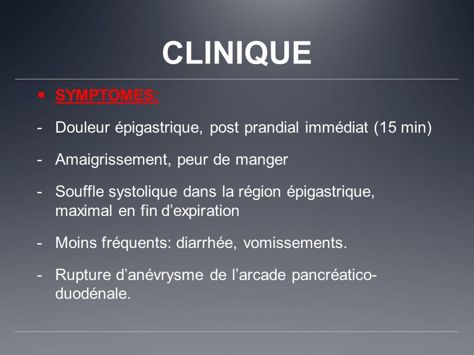 CLINIQUE SYMPTOMES: -Douleur épigastrique, post prandial immédiat (15 min) -Amaigrissement, peur de manger -Souffle systolique dans la région épigastr