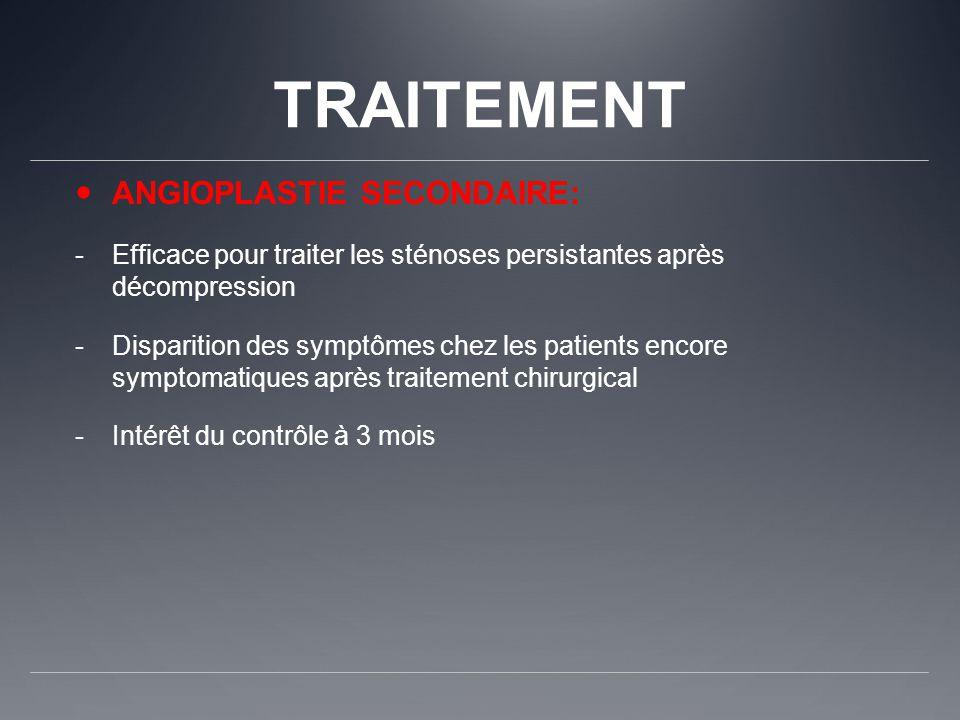 TRAITEMENT ANGIOPLASTIE SECONDAIRE: -Efficace pour traiter les sténoses persistantes après décompression -Disparition des symptômes chez les patients