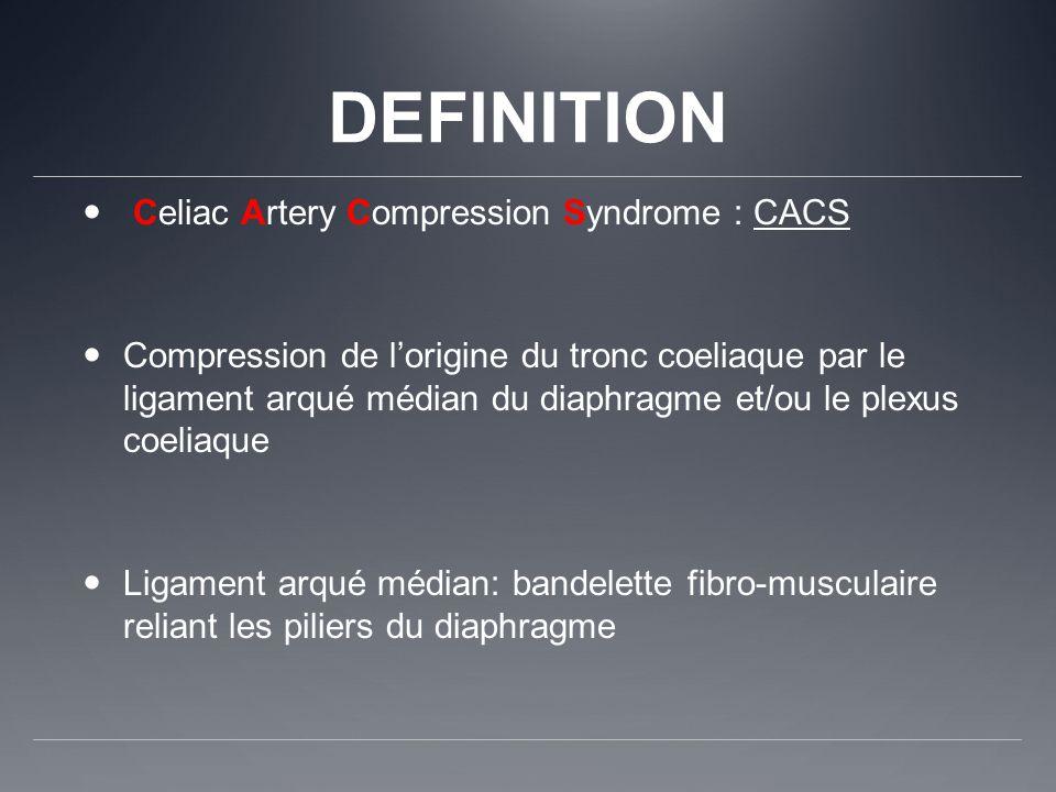 DEFINITION Celiac Artery Compression Syndrome : CACS Compression de lorigine du tronc coeliaque par le ligament arqué médian du diaphragme et/ou le pl