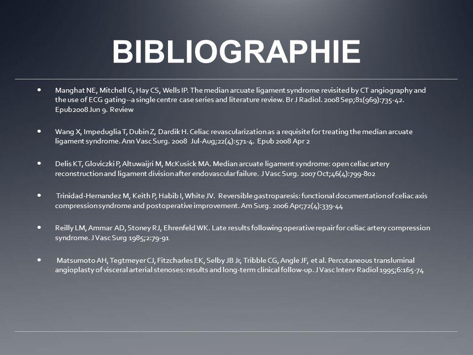 BIBLIOGRAPHIE Manghat NE, Mitchell G, Hay CS, Wells IP.