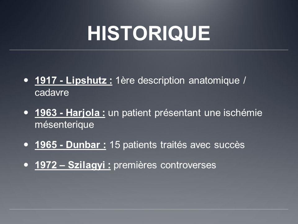 HISTORIQUE 1917 - Lipshutz : 1ère description anatomique / cadavre 1963 - Harjola : un patient présentant une ischémie mésenterique 1965 - Dunbar : 15