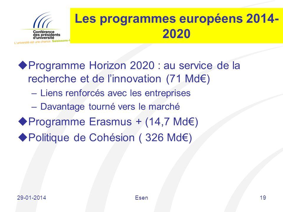 Les programmes européens 2014- 2020 Programme Horizon 2020 : au service de la recherche et de linnovation (71 Md) –Liens renforcés avec les entreprise