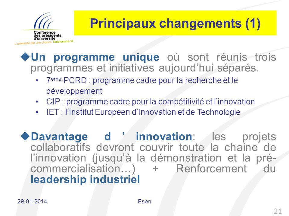 Principaux changements (1) Un programme unique où sont réunis trois programmes et initiatives aujourdhui séparés. Davantage dinnovation: les projets c