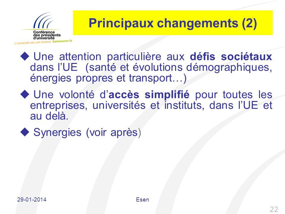 Principaux changements (2) Une attention particulière aux défis sociétaux dans lUE (santé et évolutions démographiques, énergies propres et transport…