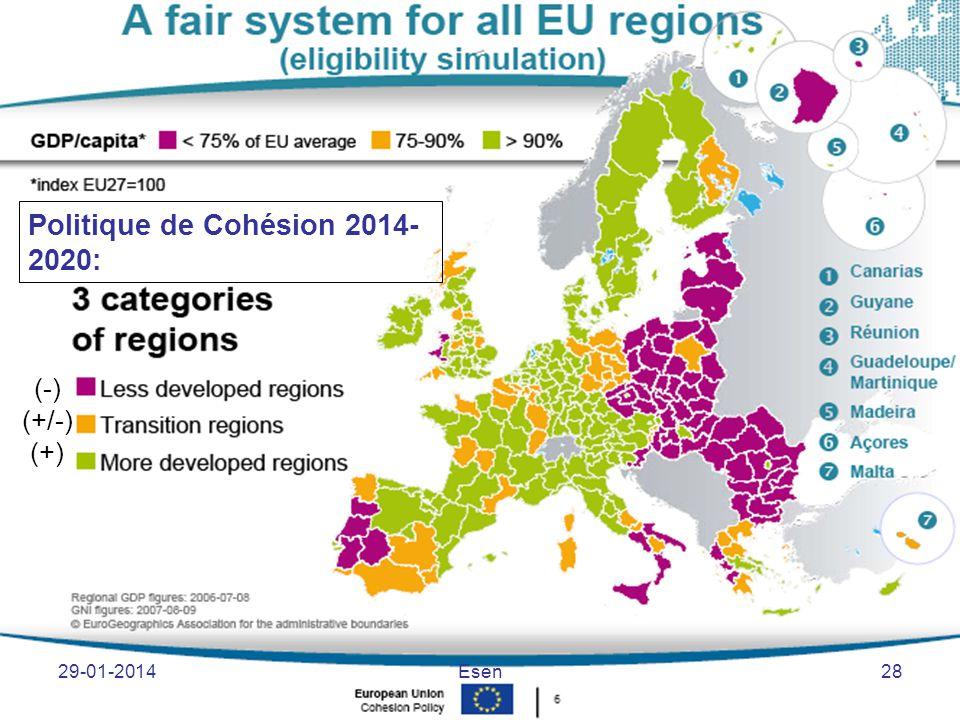 (-) (+/-) (+) Politique de Cohésion 2014- 2020: 29-01-2014Esen28