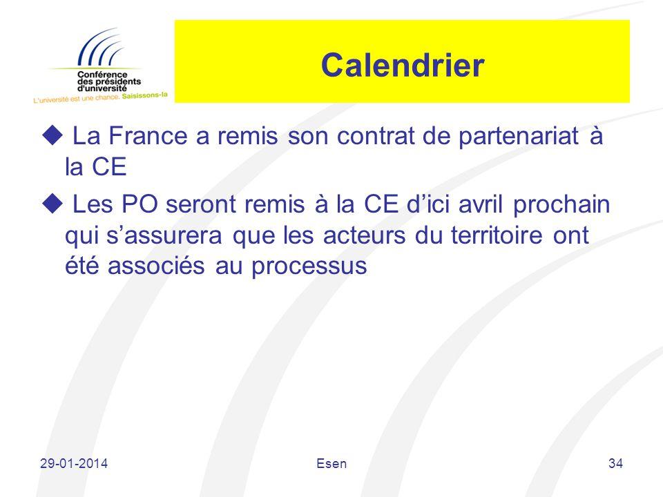 Calendrier La France a remis son contrat de partenariat à la CE Les PO seront remis à la CE dici avril prochain qui sassurera que les acteurs du terri