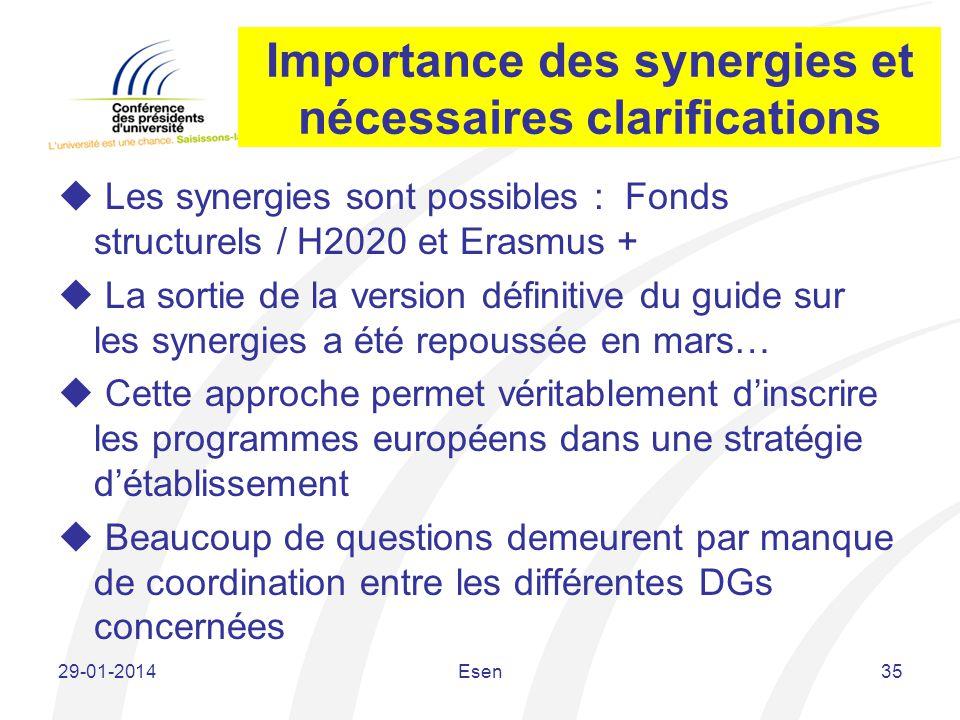 Importance des synergies et nécessaires clarifications Les synergies sont possibles : Fonds structurels / H2020 et Erasmus + La sortie de la version d