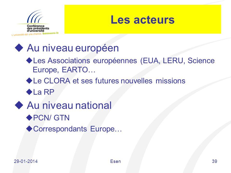 Les acteurs Au niveau européen Les Associations européennes (EUA, LERU, Science Europe, EARTO… Le CLORA et ses futures nouvelles missions La RP Au niv