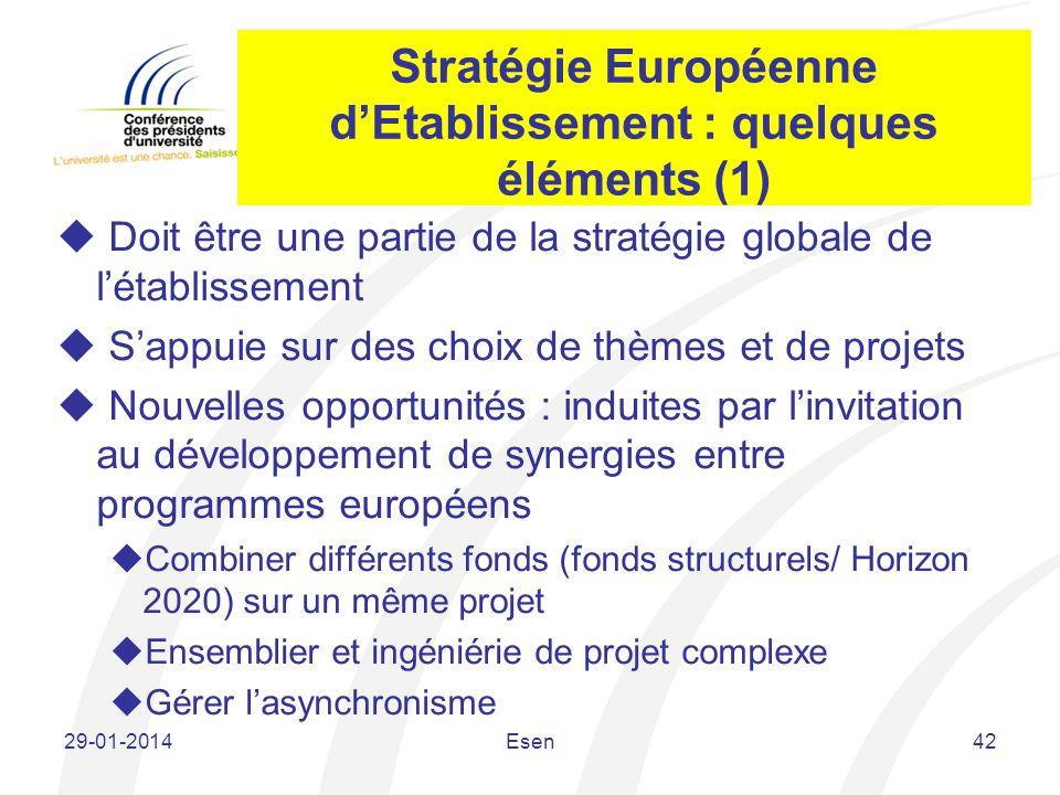 Stratégie Européenne dEtablissement : quelques éléments (1) Doit être une partie de la stratégie globale de létablissement Sappuie sur des choix de th