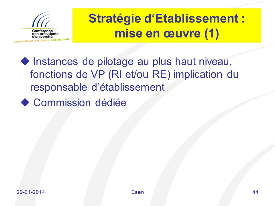Stratégie dEtablissement : mise en œuvre (1) Instances de pilotage au plus haut niveau, fonctions de VP (RI et/ou RE) implication du responsable détab